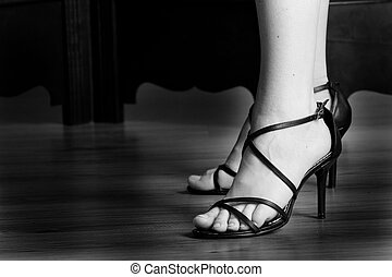 Shoes #13 - Black sandals - High key BW