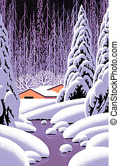 Winter Barn Scene - Image from an original 15x23...