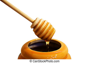 honey drizzler - wooden honey drizzler with a stream of...