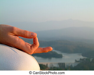 chin mudra - woman's hands and fingers in chin mudra, during...