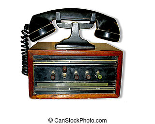 Antic communication - Vintage phone isolated on white...
