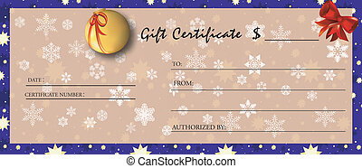 Gift certificate for Christmas season