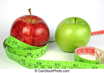 Two Apple Diet - Two apples for diet with tape measure