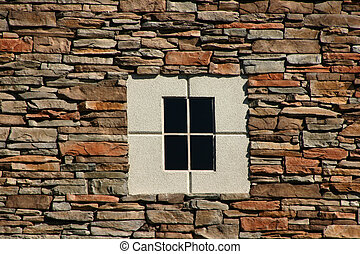 Rock Wall with Concrete Window in the middle