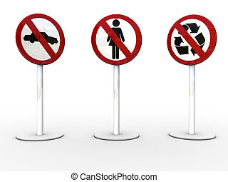 3signs-2 - 3d rendered image of 3 NO/STOP signs.