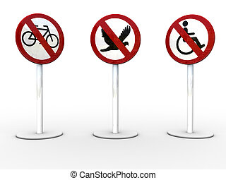 3signs-1 - 3d rendered image of 3 NO/STOP signs.