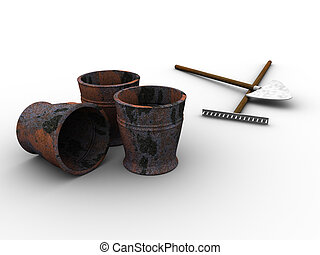 Garden Tools - 3d rendered image of some buckets, a spade...