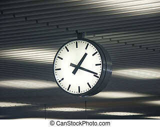 Time travels - Clock in an airport terminal