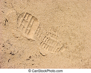 Footprint of shoe. - Footprint of shoe  in the sand.