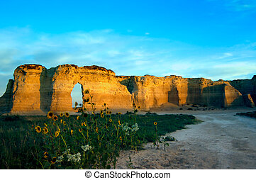 Limestone Rocks - Rock formations with grass and prairie...