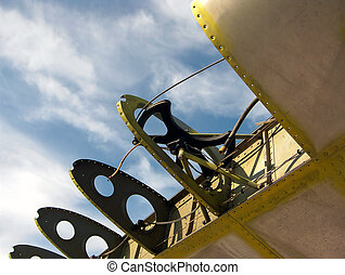 Aviation Structure - detail of airplane wing in scrap yard