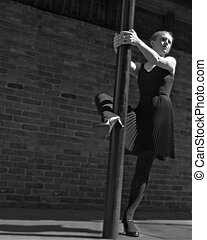 Street Ballet - ballet dancer with pole on street