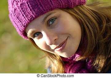 Fall Fashion - Beautiful Young Woman On A Sunny Fall day