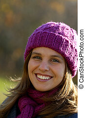 Happy Smile - A Happy Young Woman On A Sunny Fall Day