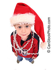 Christmas Kid 2 - Small boy wearing santa-hat, isolated