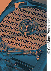 HDD Internal - Internal View of a HDD with Binary