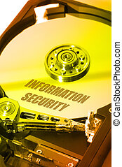 HDD Info Security - Internal View of a HDD with Binary