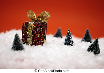 Christmas Scene - Christmas winter scene with trees and...