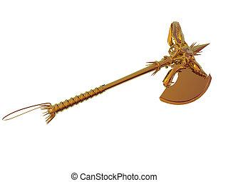 Golden Primitive Axe - Isolated golden primitive axe