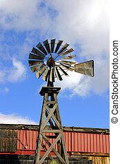 viejo, de madera, molino de viento
