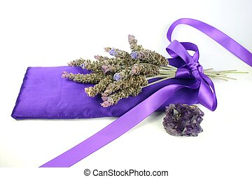 Lavender & Amethyst - Bunch of lavender on satin pillow with...