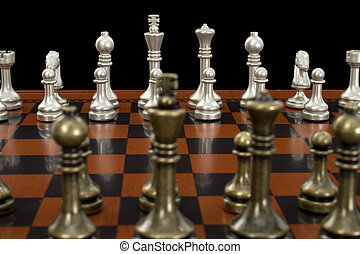 Chess Game - Wooden chess board with metal peices Shot in...