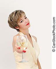 Glass of wine - Woman in a formal dress having a glass of...