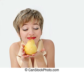 Funny girl with pear
