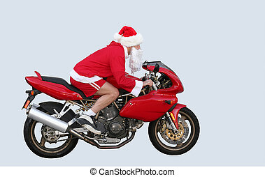 Santa Claus in CA - Santa Claus on a motorcycle in CA