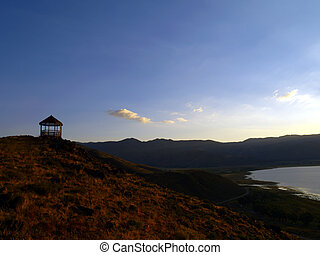 Lake Wahoe State Park Overlook - Sunset over lake - Washoe...