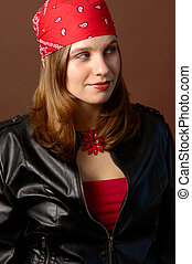 Biker Girl Standing - Motorcycle Woman Dressed For Riding