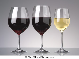 wine glasses - three wine glasses two red one white