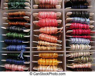 silks in a box - silks wound around bobbins and placed into...