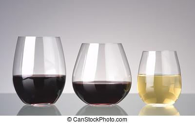 3 wine glasses, no stems