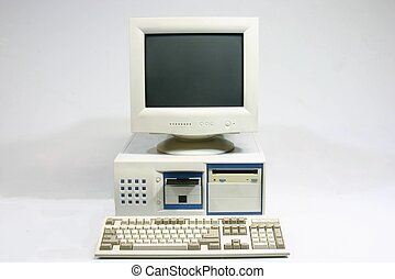 Home computer - Basic plain home computer on a white...