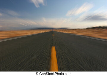 highway - endlessly long road, motion blur in-camera