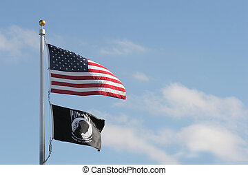 american and pow mia flags (prisoners of war, missing in...