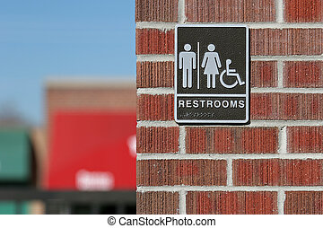 public restrooms sign, both genders and handicap accessible...