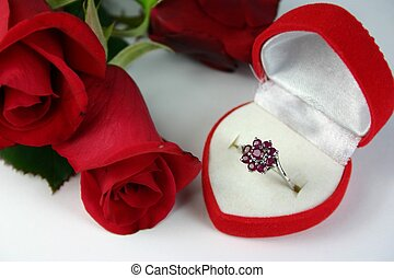 Romantic Gift - Ruby ring in heart shaped box with red rose...