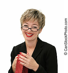 Smiling saleswoman - Smiling businesswoman with eyeglasses...