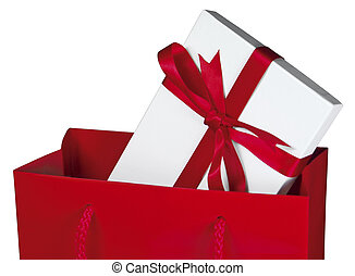 Red gift bag [Top] - Close-up of a gift wrapped box in a red...