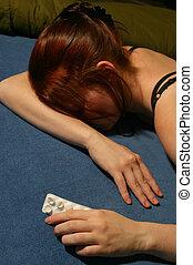 """Pills - A """"junkie"""" girl asleep with an empty packet of pills..."""
