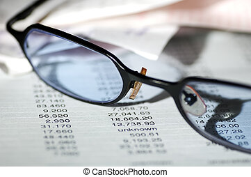 Banking - Eyeglasses on a Bank Statement