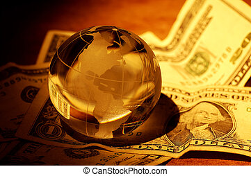 Global Finance - Glass Globe on Money With Creative Lighting...