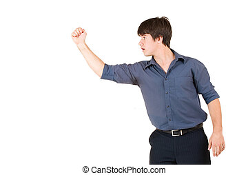 Businessman 62 - Businessman in blue shirt, showing a fist