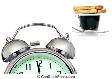 Early Breakfast - Alarm clock , cofee and toast