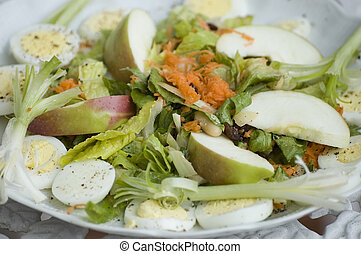 Salad plate.G ood presentation for recipes book. Focusing...