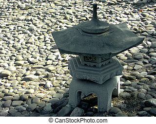 Japanese lantern - Japanese garden lamp in shadow