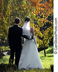 Bride and groom in the park watching the autumnal colors