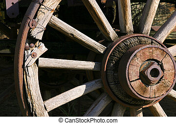 viejo, antigüedad, vagón, rueda